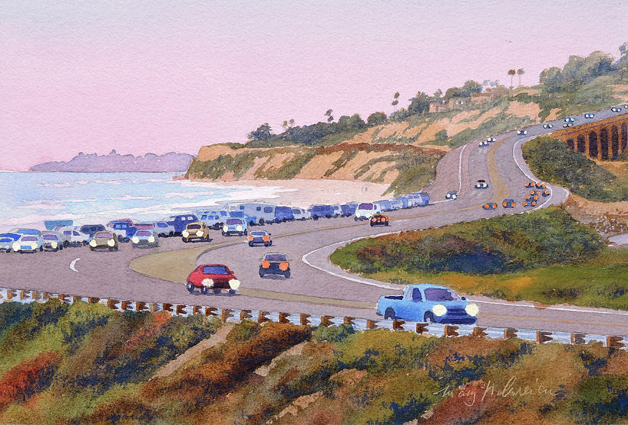 Pacific Coast Painting - Pacific Coast Hwy Del Mar Dusk by Mary Helmreich