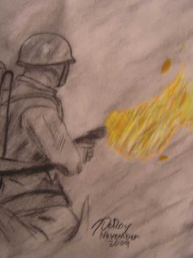 Pacific Drawing - Pacific Fire by John DeRoy