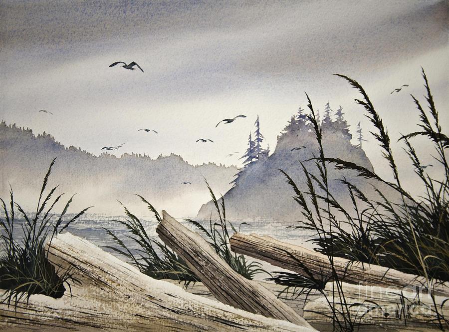 Landscape Fine Art Print Painting - Pacific Northwest Driftwood Shore by James Williamson