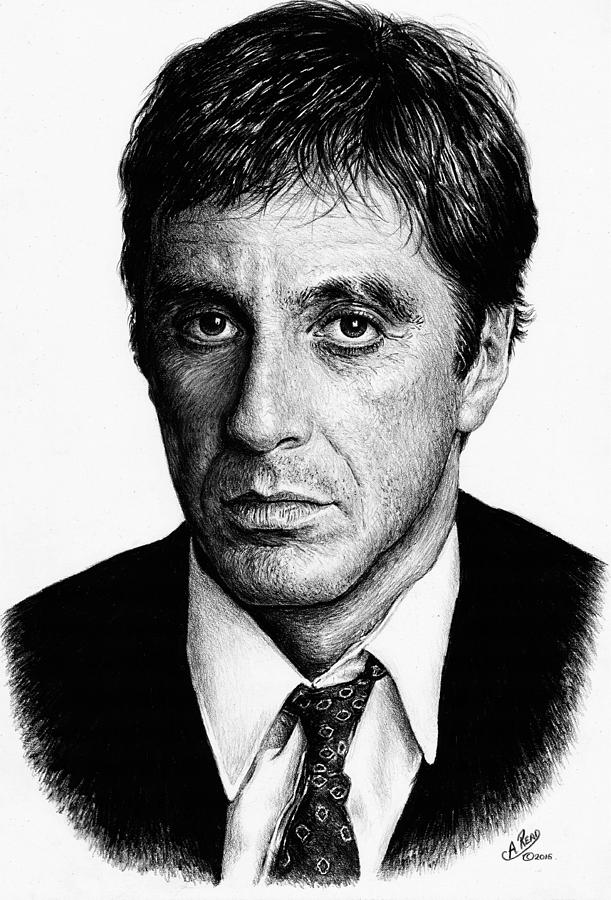 Pacino Scarface Drawing by Andrew Read