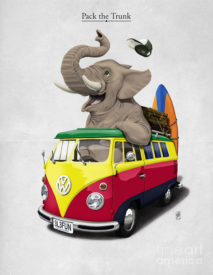 Elephant Drawing - Pack The Trunk by Rob Snow