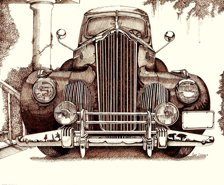 Classic Cars Drawing - Packard by Gary Galarza