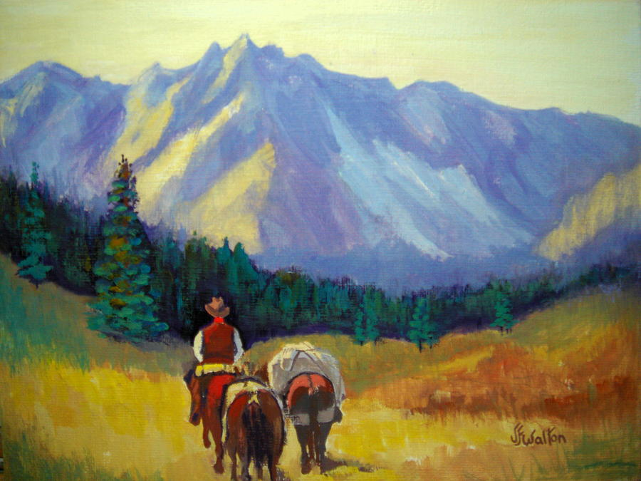 Horses Painting - Packing  In by Judy Fischer Walton