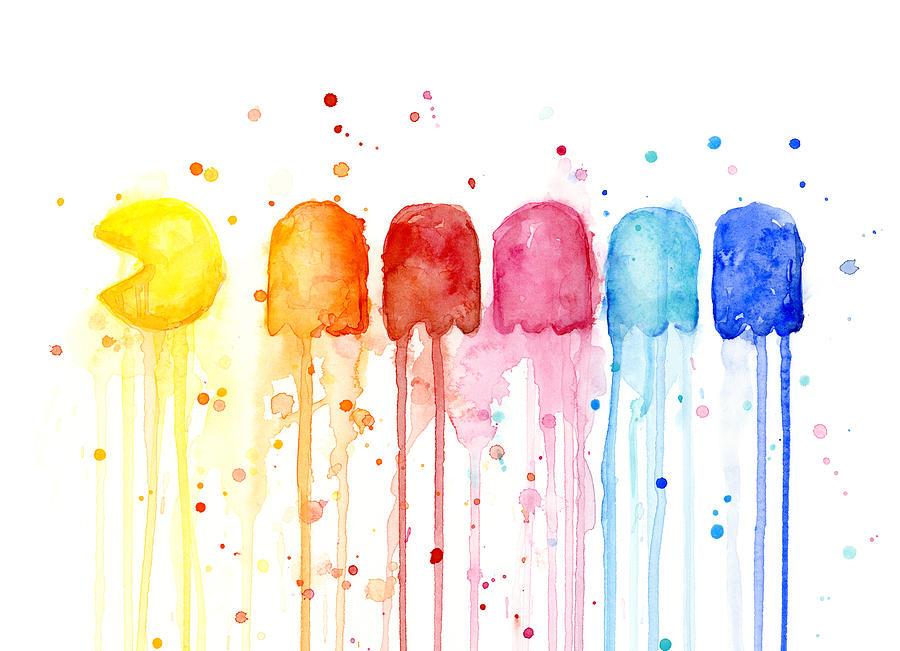 Game Painting - Pacman Watercolor Rainbow by Olga Shvartsur