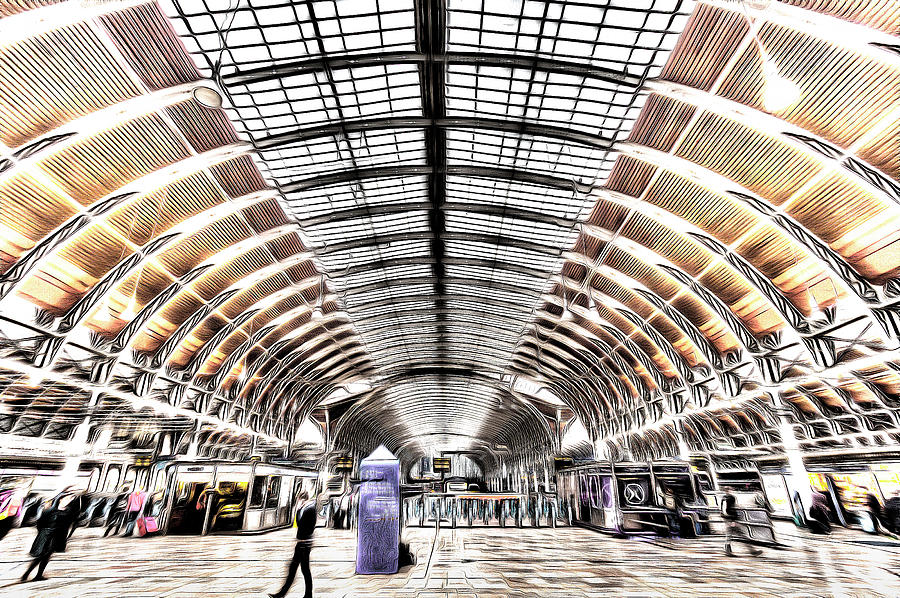 London Sketch Photograph - Paddington Station London Art by David Pyatt
