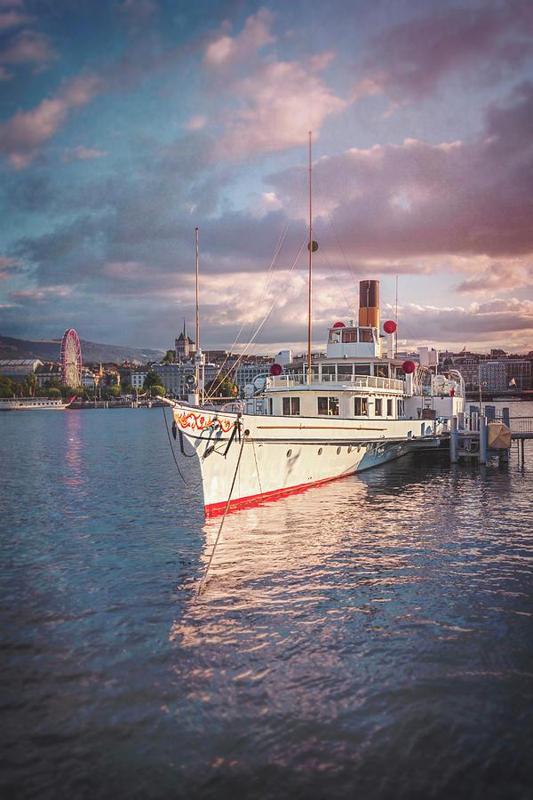 Paddle Steamer Photograph - Paddle Steamer Simplon Lake Geneva Switzerland by Carol Japp