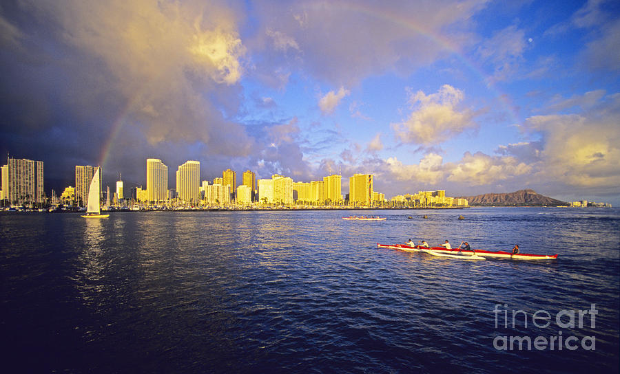 Arch Photograph - Paddling Beneath Rainbow by Carl Shaneff - Printscapes