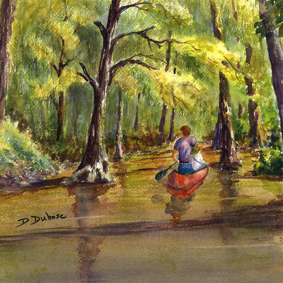Swamp Painting - Paddling Into The Swamp by Darrell Dubose