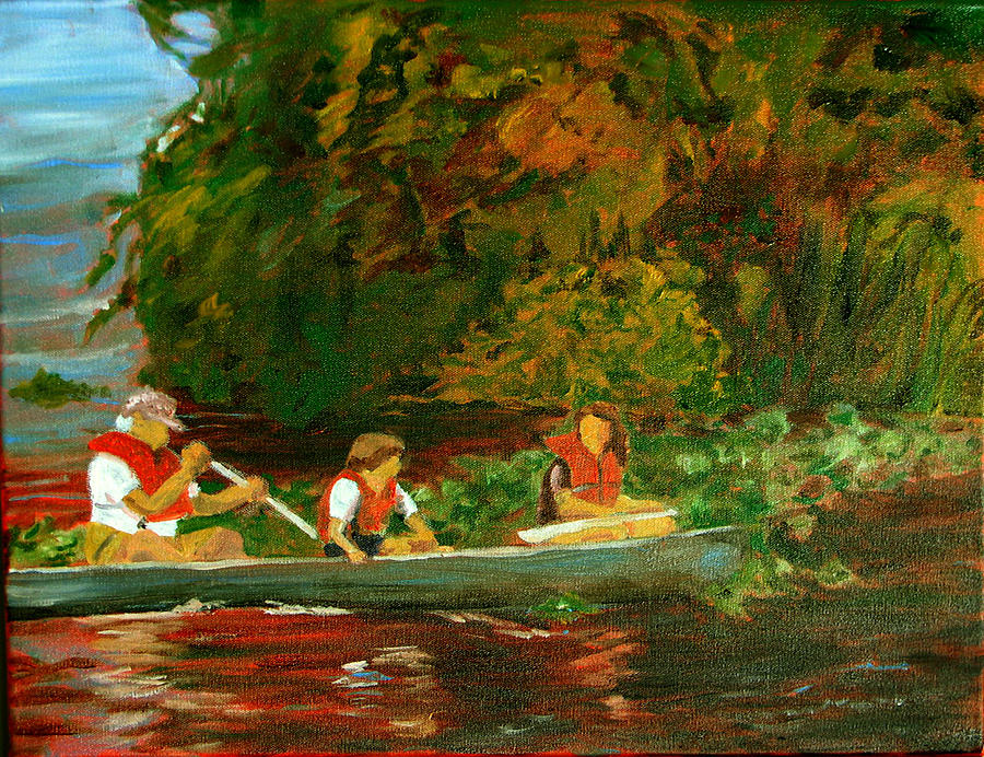 Canoe Painting - Paddling Trio by Libby  Cagle