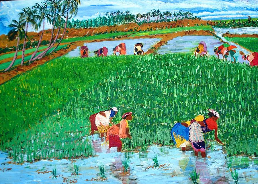 Paddy Painting - Paddy Planters by Narayan Iyer