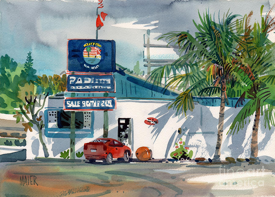 Building Painting - Padi Dive Shop by Donald Maier