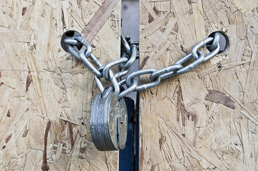 Background Photograph - Padlock And Chain by Tom Gowanlock