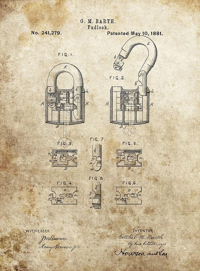 Padlock Patent Drawing