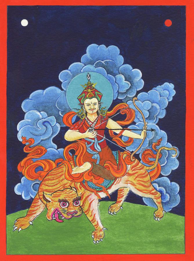 Padmasambhava Painting - Padmasambhava rides the tiger by Nicholas Breeze Wood