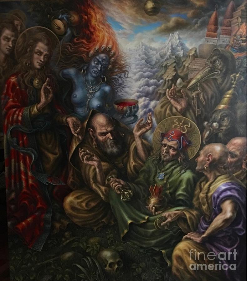 Oil On Canvas Painting - Padmasambhavas Initiation by Alexander Donskoi