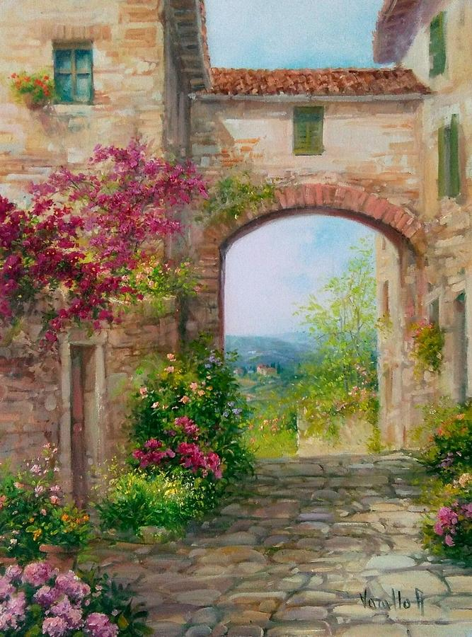 Paese In Toscana Italy Painting By Antonietta Varallo