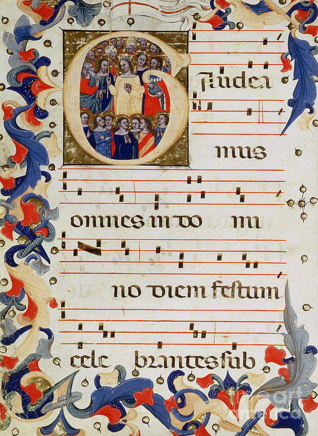 Music Painting - Page Of Musical Notation With A Historiated Letter G by Italian School
