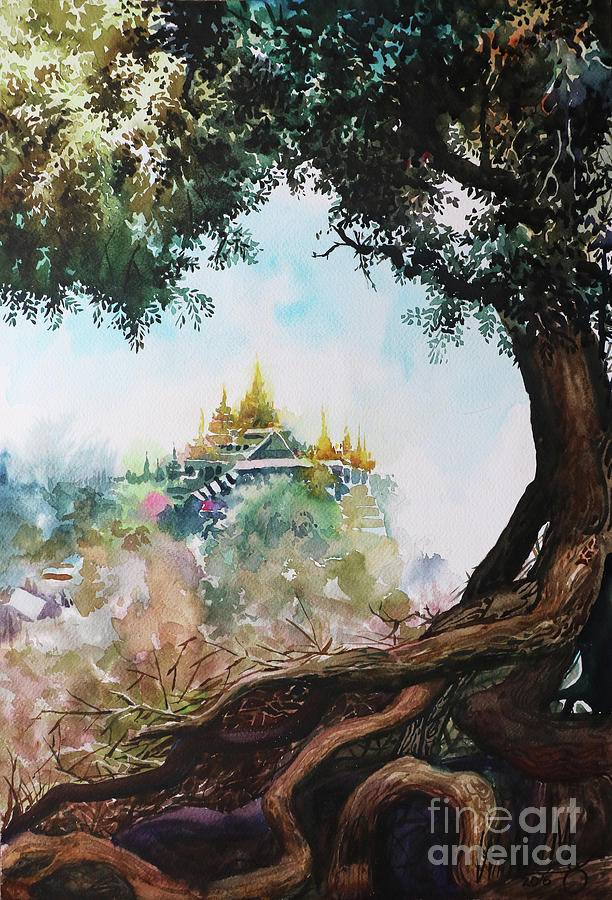 Landscape Painting - Pagoda On Mountain by Win Min Mg