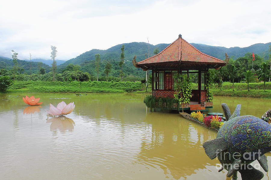 Pagoda Temple On The Lotus Lake - Vietnam Photograph