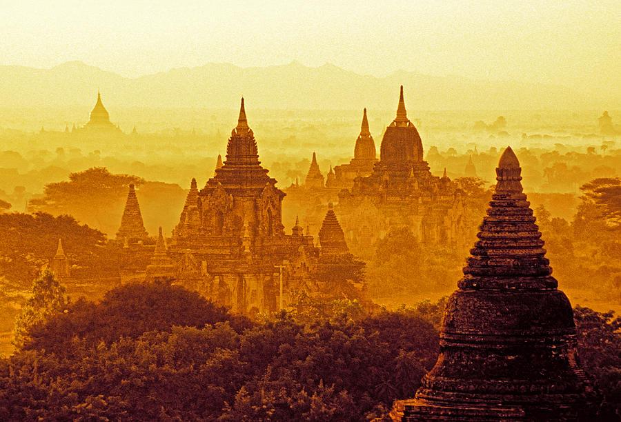 Bagan Photograph - Pagodas by Dennis Cox