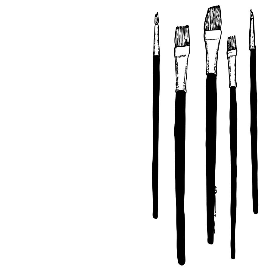 Drawing Drawing - Paint Brushes by Karl Addison