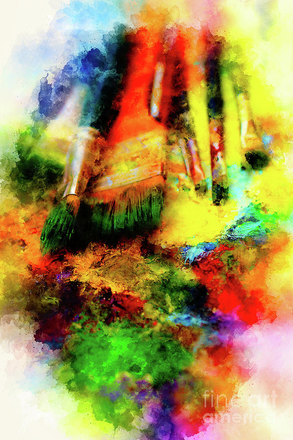 Paint Brushes To The Painting Palette And Softly Blurred Watercolor Background