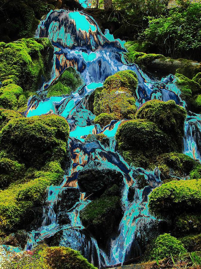 Green Photograph - Paint Bucket Waterfall by Teri Schuster