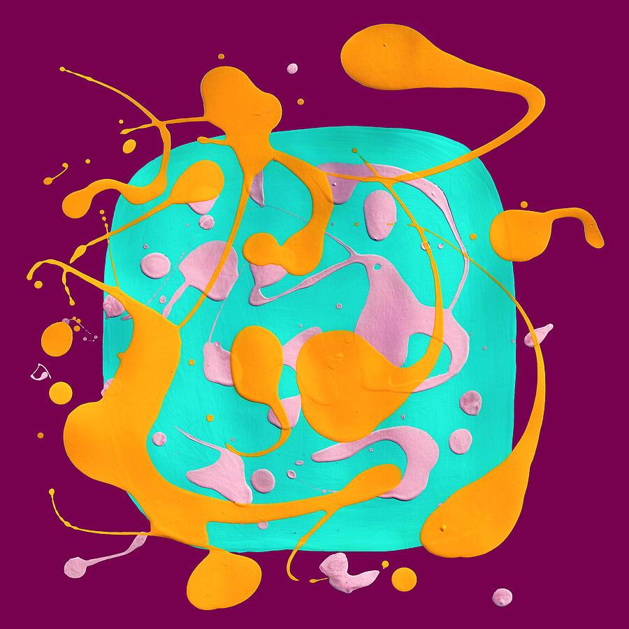 Paint Dance Aqua Square On Magenta Mixed Media