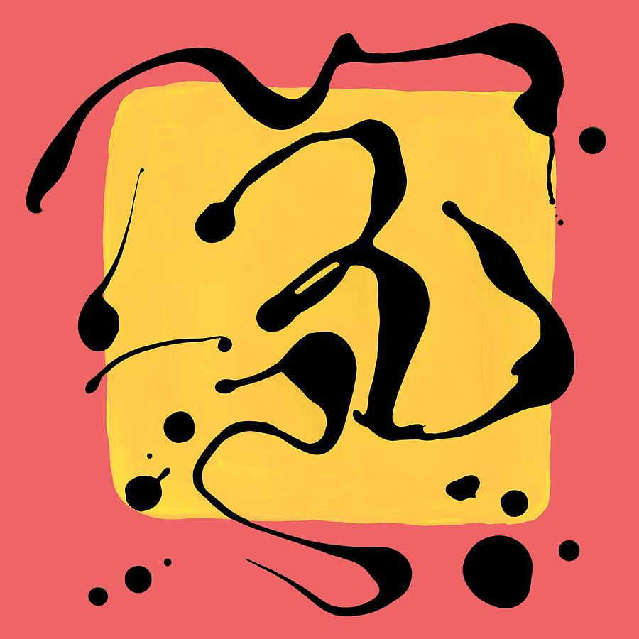 Paint Dance Yellow Square On Pink Painting