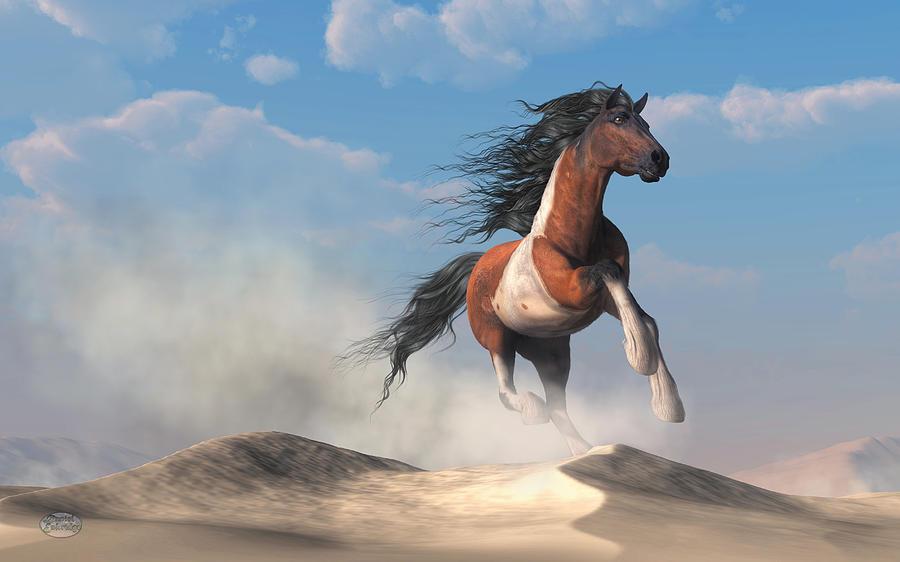 Paint Horse Digital Art - Paint Horse In The Desert by Daniel Eskridge