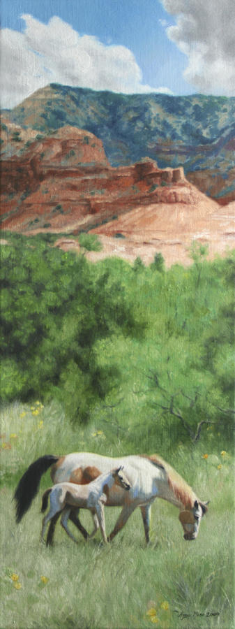 Horse Painting - Paint Horses At Caprock Canyons by Anna Rose Bain