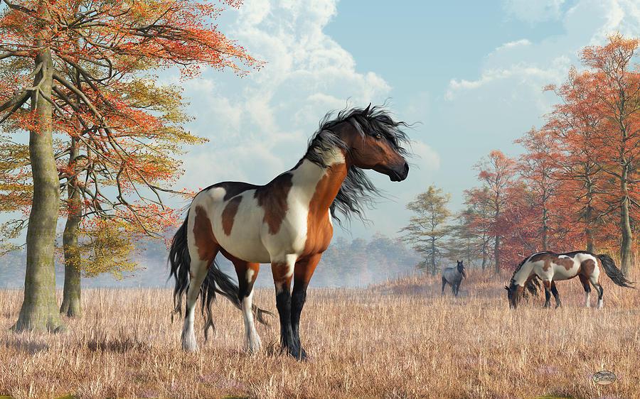 Paint Horse Digital Art - Paint Horses In Autumn by Daniel Eskridge