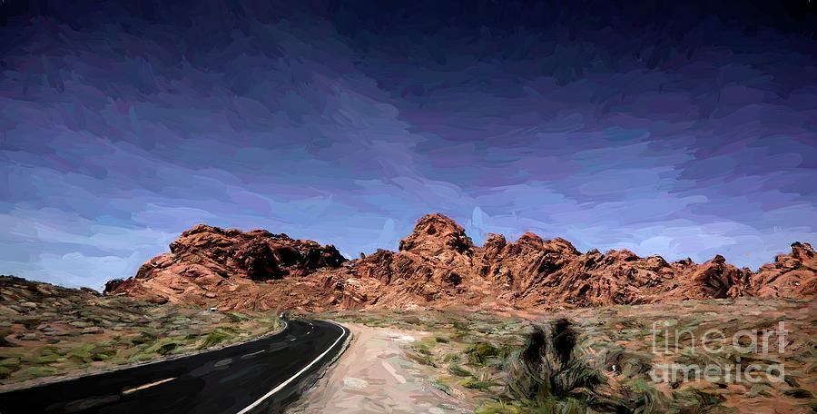 Valley Of Fire Digital Art - Paint Mixed Valley Of Fire Landscape  by Chuck Kuhn