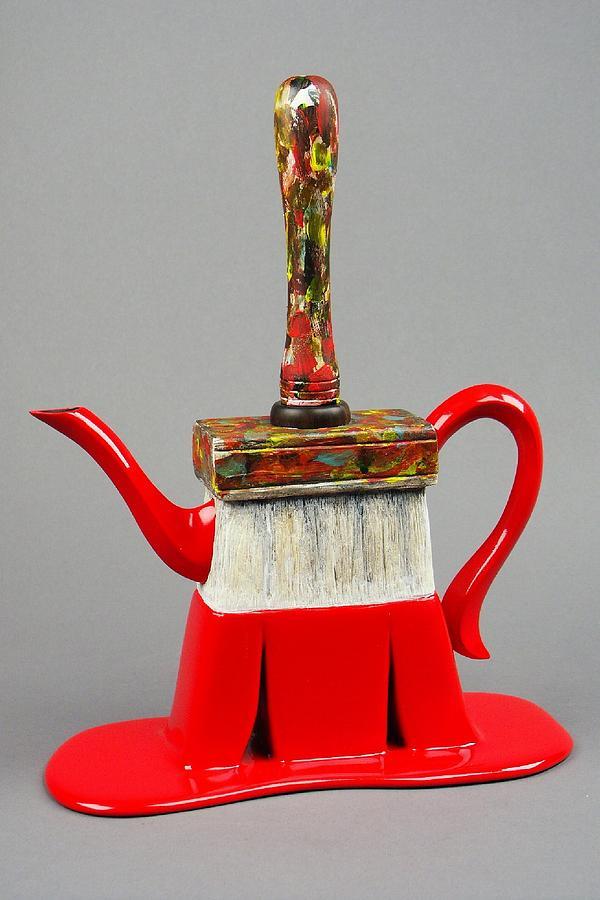 Sculpture Sculpture - Paintbrush Teapot by Milo Mirabelli