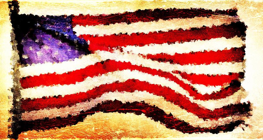 Painted Digital Art - Painted American Flag by Andrea Barbieri