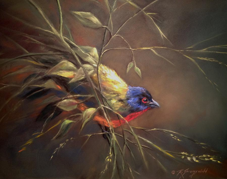 Bird Pastel - Painted Bunting by Ruth Stromswold