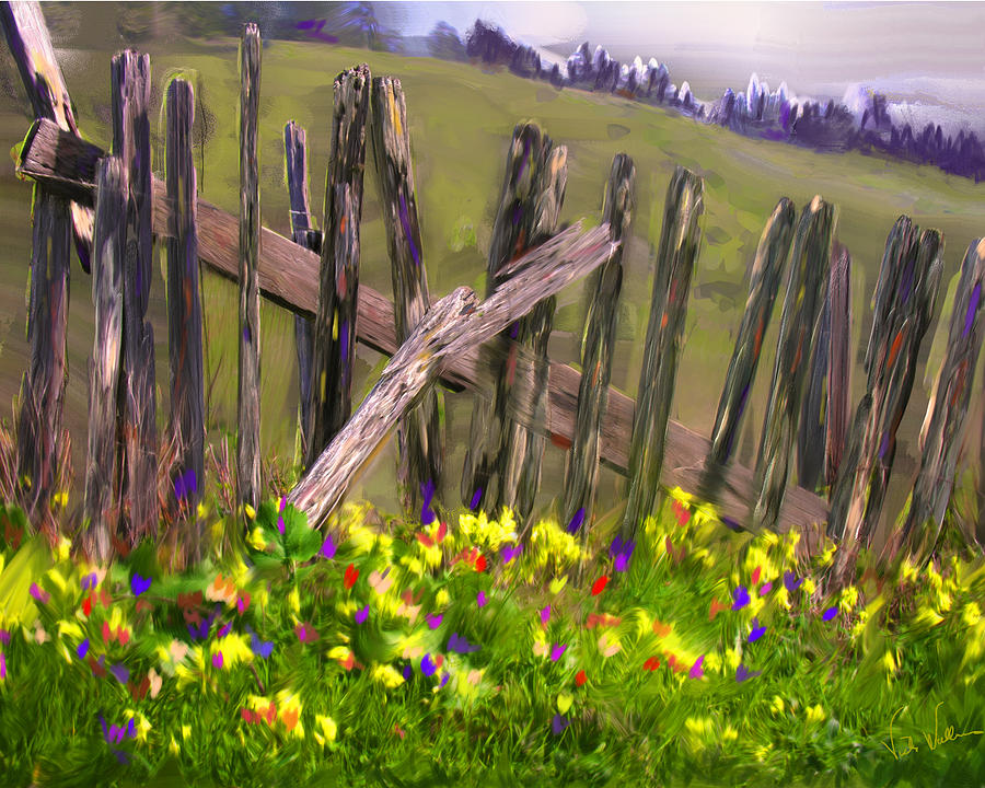 Fence Digital Art - Painted Fence by Vicki Tomatis