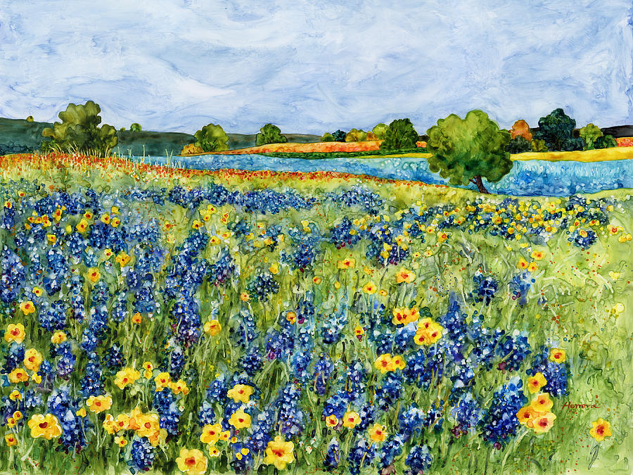 Bluebonnet Painting - Painted Hills by Hailey E Herrera