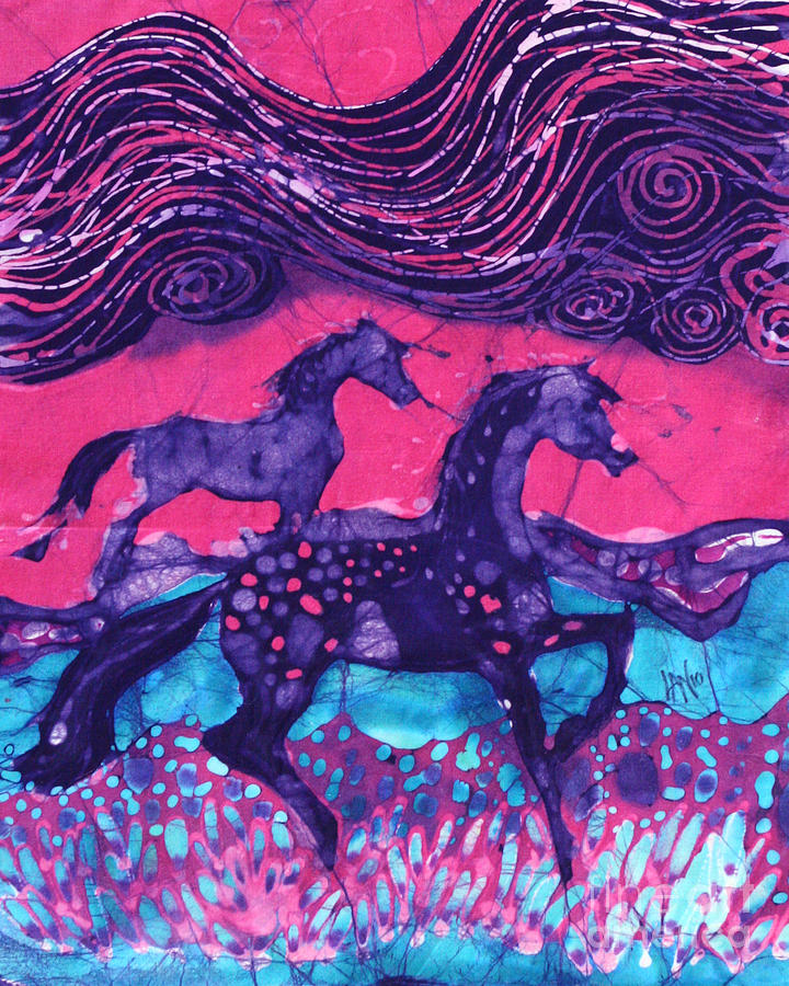 Batik Tapestry - Textile - Painted Horses Below The Wind by Carol  Law Conklin