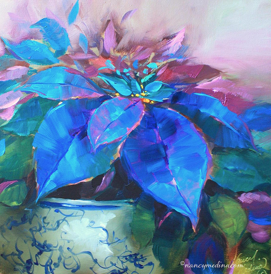 Painted Ladies Blue Poinsettias Painting By Nancy Medina