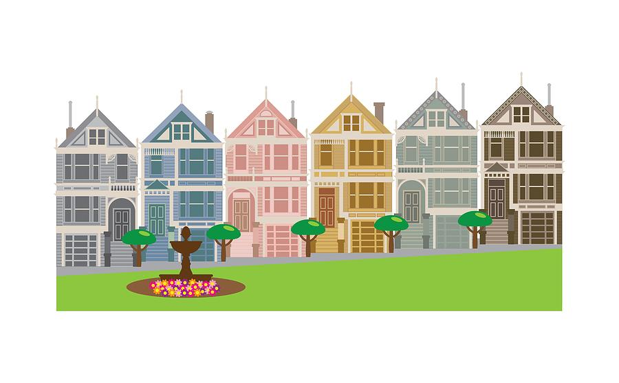 Painted Ladies Row Houses in San Francisco Illustration by Jit Lim