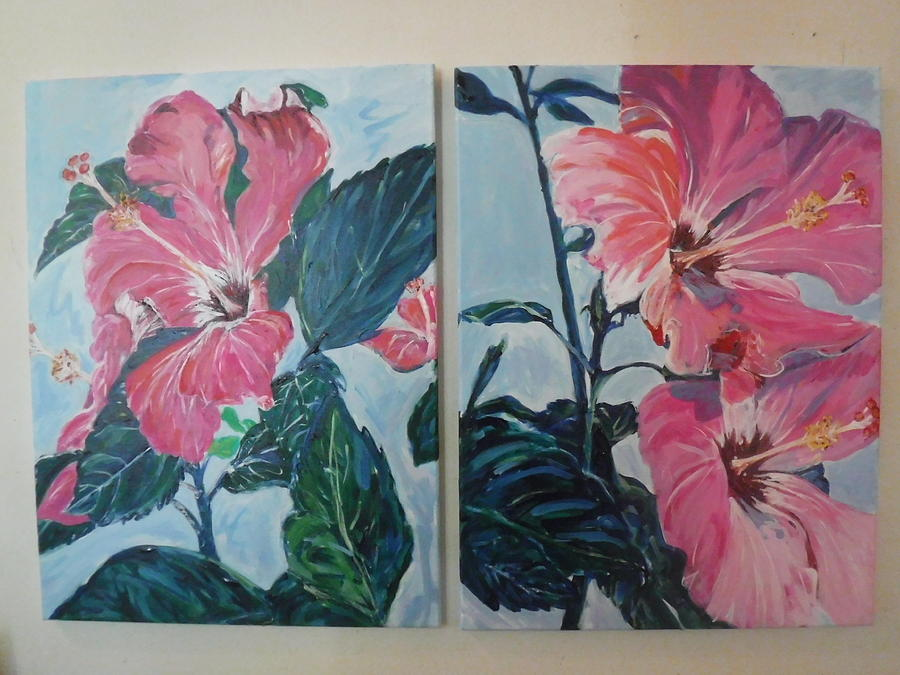 Painted Lady Hibiscus I And Ii Painting By Janice Jackson
