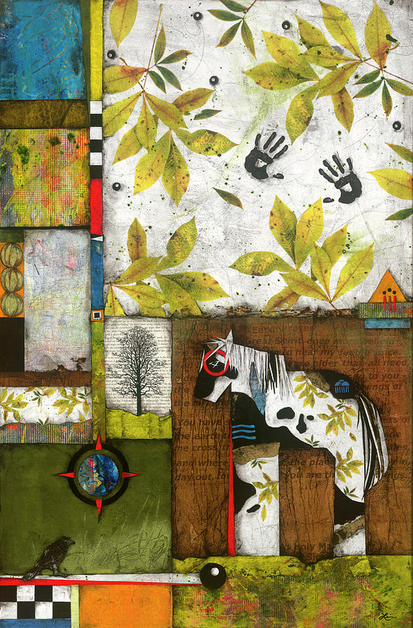 Collage Mixed Media - Painted Mare, Shaggy Bark Hickory  by Laura Lein-Svencner