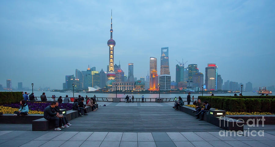 Painted Pudong Twilight by Stephen McDowell