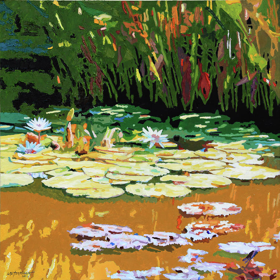 Water Lilies Painting - Painted Sunspots by John Lautermilch