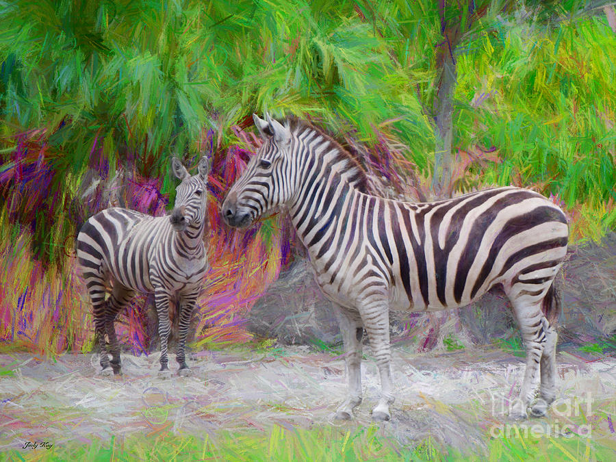 Animals Painting - Painted Zebra by Judy Kay