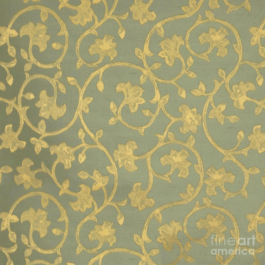 Painterly Painting - Painterly Chenin Gold Damask On Sage Linen by Tina Lavoie