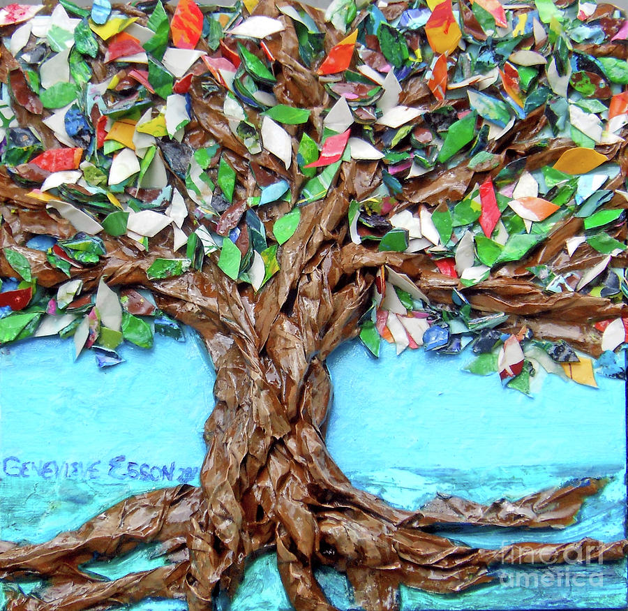 Tree Painting - Painters Palette Of Tree Colors by Genevieve Esson