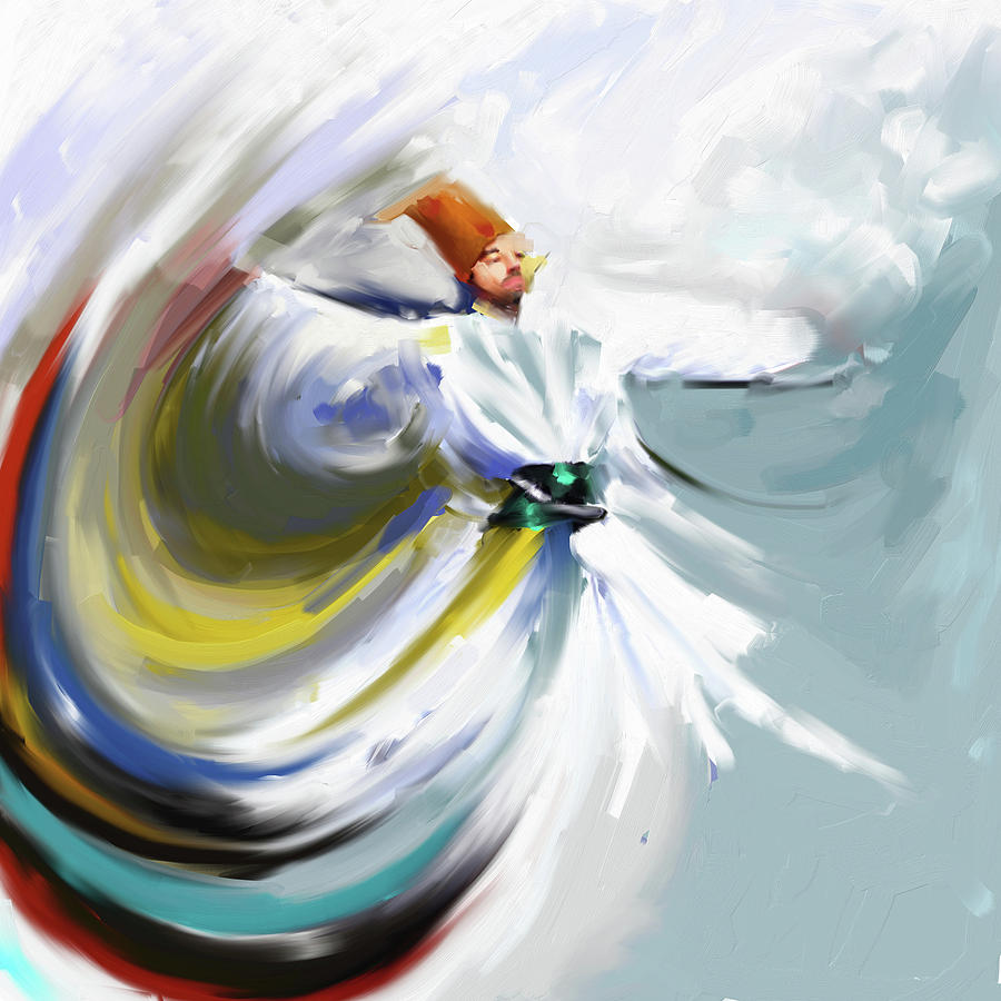Dance Painting - Painting 719 1 Sufi Whirl 5 by Mawra Tahreem