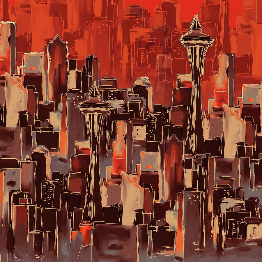 Chicago Painting - Painting 773 1 Seattle Skyline by Mawra Tahreem